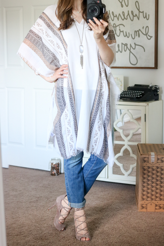 Cross Stitch Geo Print Poncho from Hinge - July Trunk Club Review