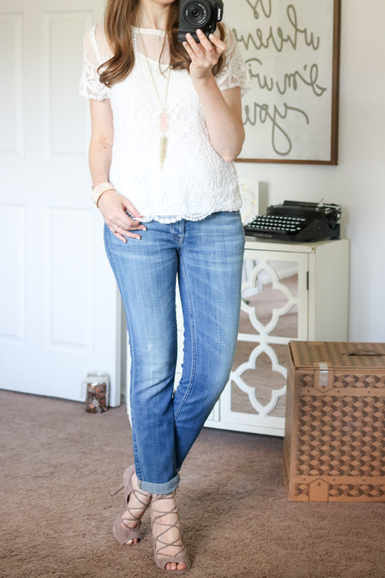 Short Sleeve Lace Top from Hinge with 7 for All Mankind Josefina boyfriend jeans - July Trunk Club review