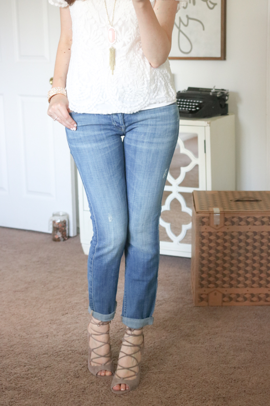 """Sandria"" Peep Toe Ghillie Sandal from Vince Camuto with 7 for All Mankind boyfriend jeans - July Trunk Club Review"