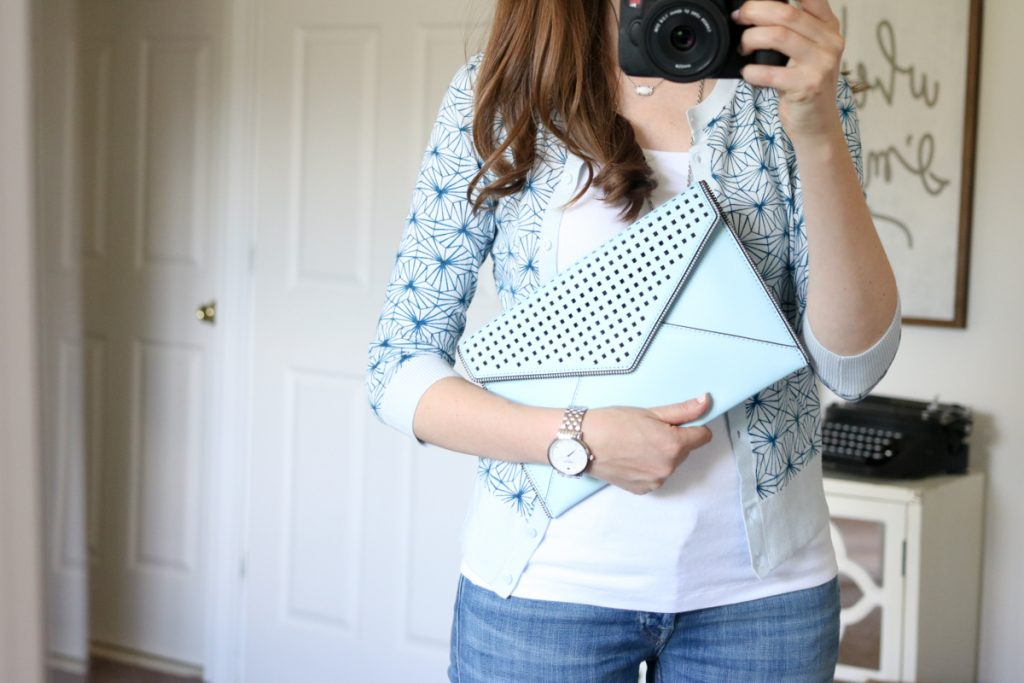 """Perforated Leo"" Leather Clutch from Rebecca Minkoff - July Trunk Club Review"