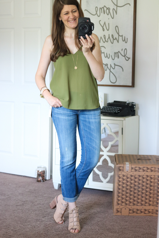 """Drea"" Peep Toe Leather Sandal from Hinge with Topshop camisole and 7 for All Mankind Josefina boyfriend jeans - Trunk Club review"