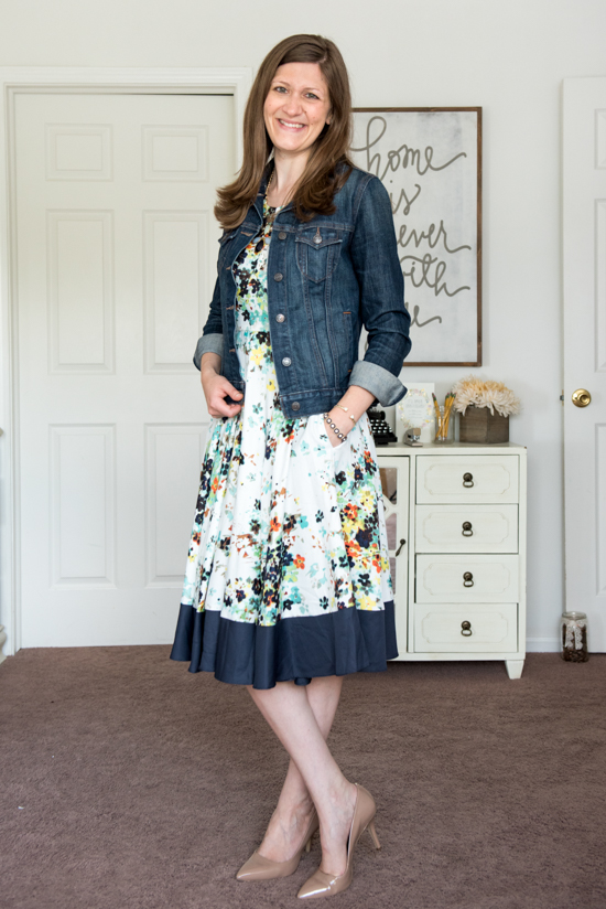 floral dress and denim jacket - August Stitch Fix review