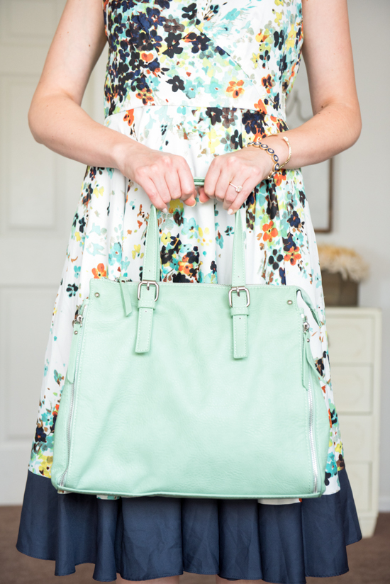 Lideea Dress from Donna Morgan and mint Lynden Satchel from Urban Expressions - August Stitch Fix review