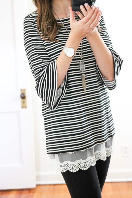 Trunk Club Women Review - Stripe Knit Bell Sleeve Top by Pleione