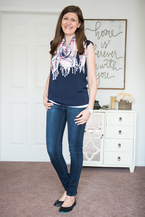 Dawney Scallop Trim Blouse from 41Hawthorn with matte black Tieks, Kensie skinny jeans and a plaid scarf - Stitch Fix