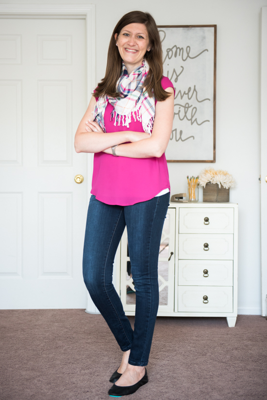 Walden V-Neck Blouse with Tieks, Kensie jeans and a plaid scarf - Stitch Fix