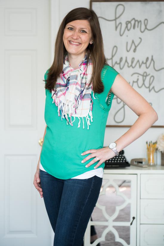 41Hawthorn Carla Crochet Detail Blouse with a plaid scarf - Stitch Fix