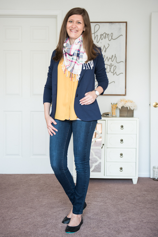 Eston Button-Up Sleeveless Blouse and Kaylie French Terry Blazer with Matte Black Tieks, Kensie skinny jeans and a plaid scarf - Stitch Fix