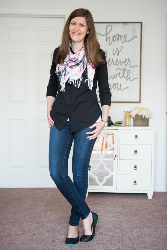 black Jamie Button Down Cotton Shirt with matte black Tieks, Kensie skinny jeans and a plaid scarf - Stitch Fix