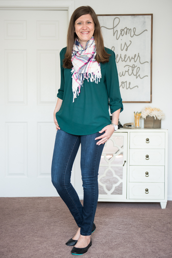 Sylvester Split Neck Blouse from Brixon Ivy with matte black Tieks, Kensie skinny jeans and a plaid scarf - Stitch Fix