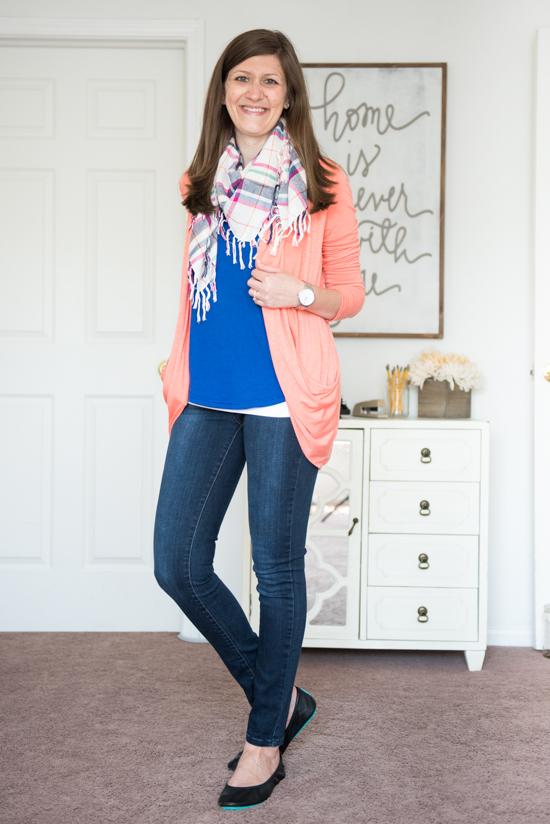 Jillian Crochet Detail Tank and coral Martina Slub Knit Open Cardigan with Kensie skinny jeans and matte black Tieks - Stitch Fix