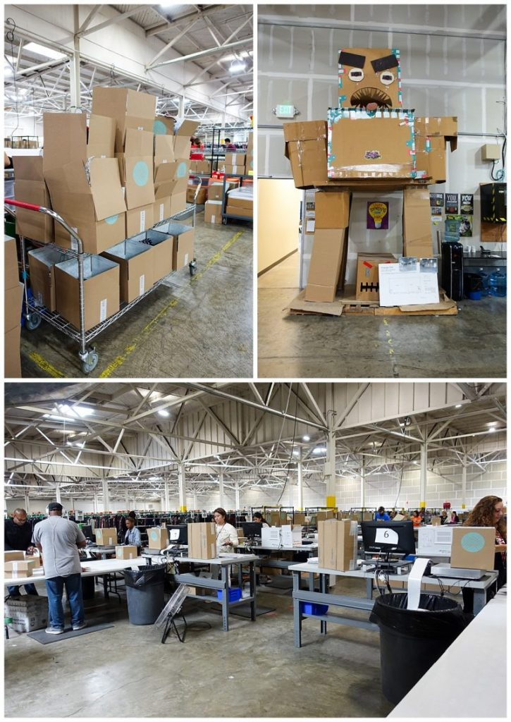scenes from the Stitch Fix warehouse in San Francisco