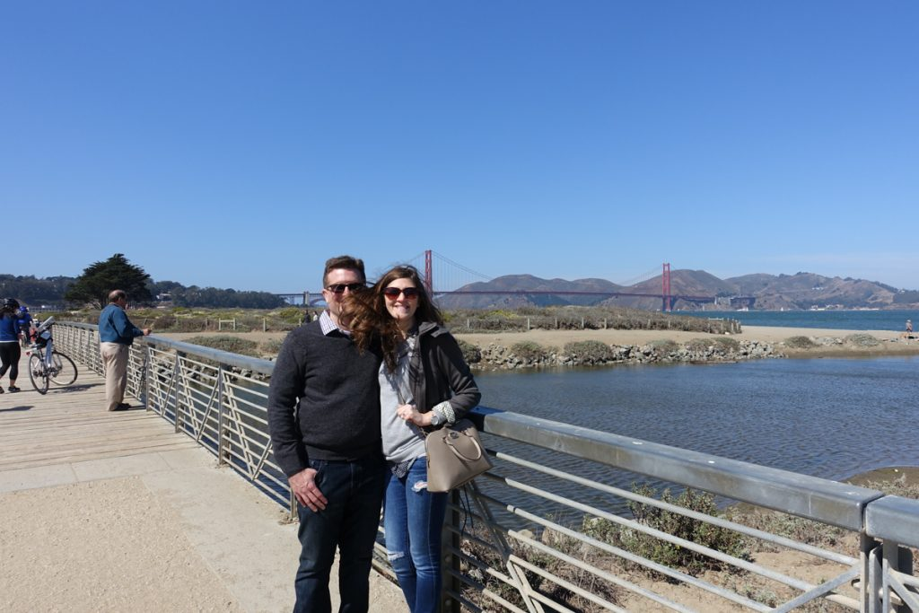 gorgeous sunny day at the Golden Gate Bridge - tourists in San Francisco