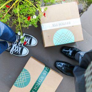 Stitch Fix boxes on front porch
