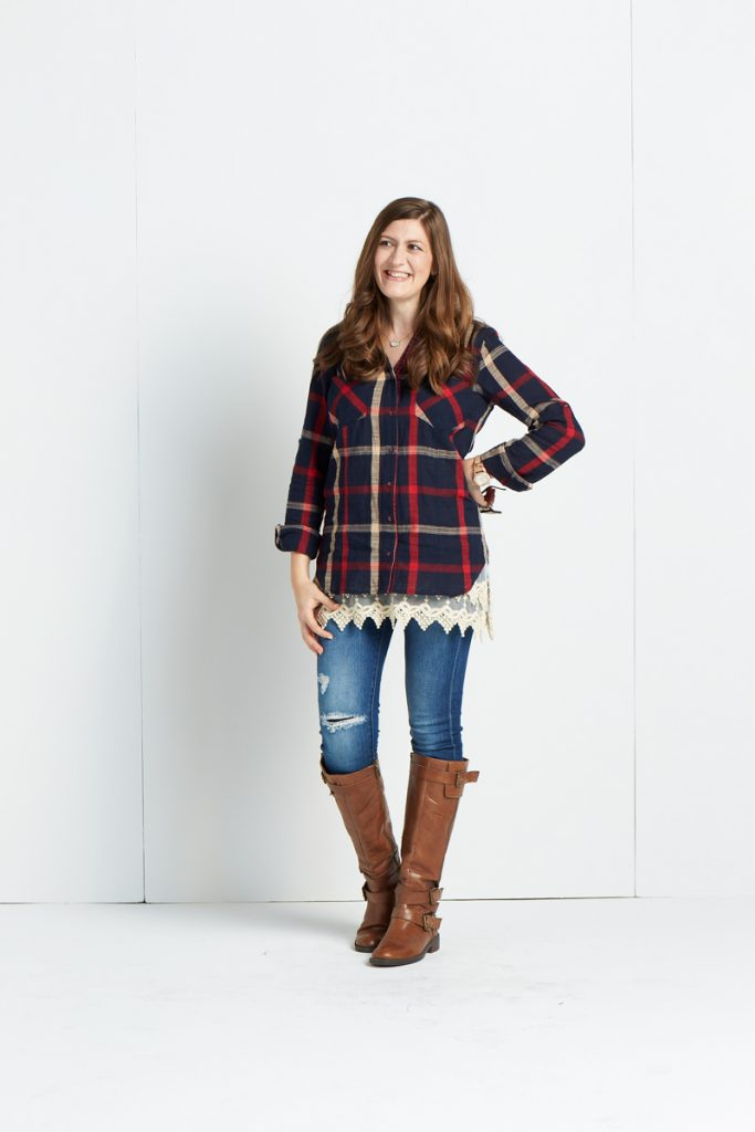 Stitch Fix plaid shirt with lace extender