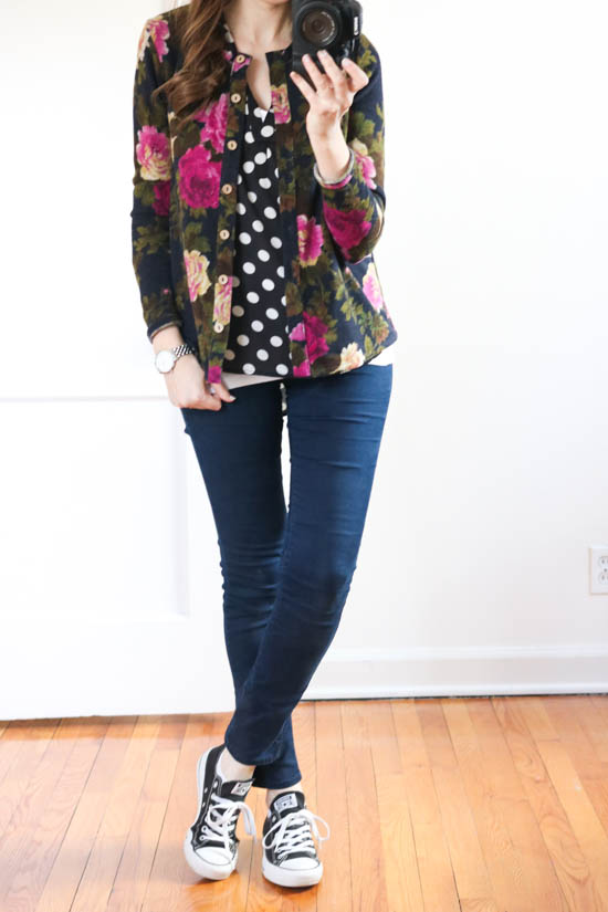 How to hide the baby bump without having to size up - try mixing prints with a polka dot blouse and a printed cardigan | maternity style | Crazy Together blog