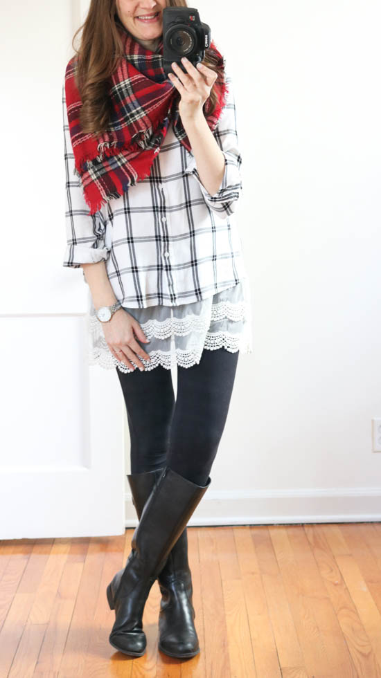 How to hide the baby bump without having to size up - try pairing a plaid button down shirt with a contrasting plaid blanket scarf | winter style | maternity fashion | Crazy Together blog