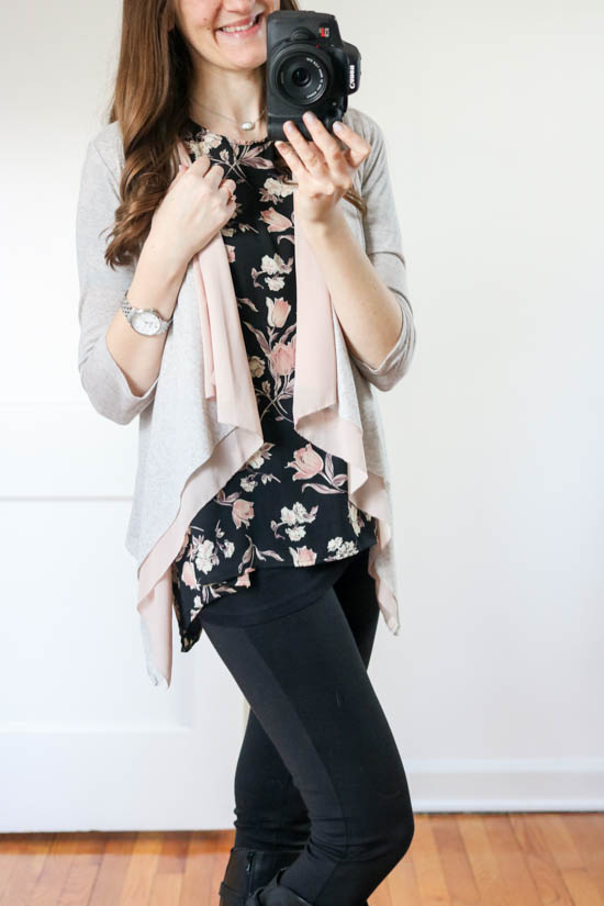How to hide the baby bump without having to size up - try layering a floral blouse with a draped cardigan - Crazy Together blog