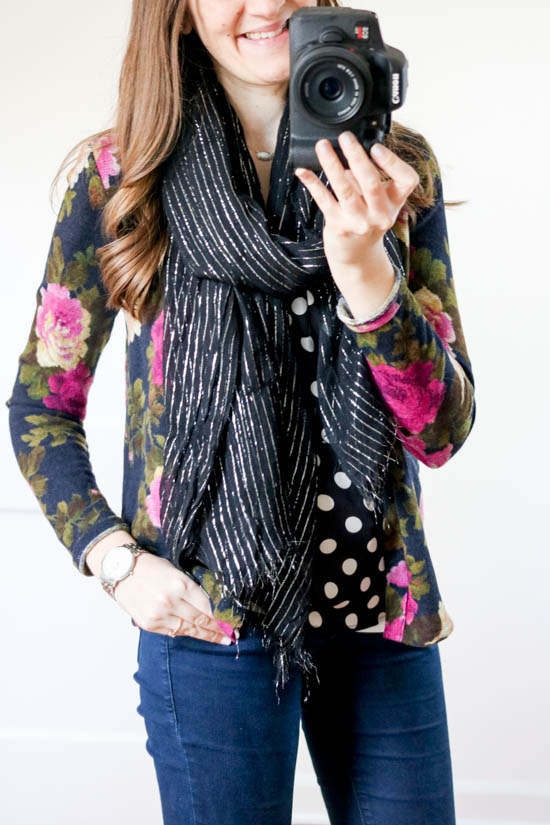How to hide the baby bump without having to size up - try mixing prints with a polka dot blouse, a printed cardigan, and a striped scarf | dressing the bump | Crazy Together blog