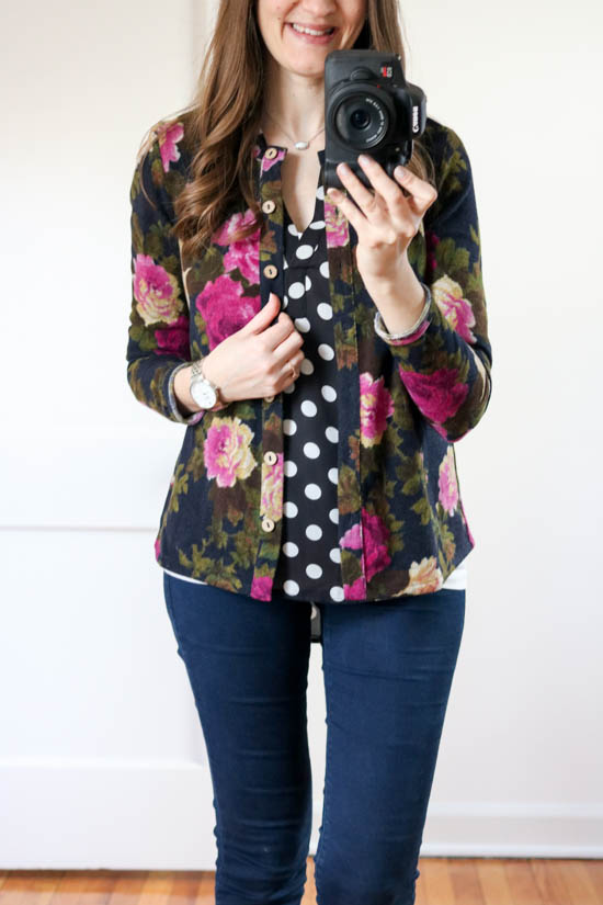 How to hide the baby bump without having to size up - try mixing prints with a polka dot blouse and a printed cardigan | maternity fashion | Crazy Together blog