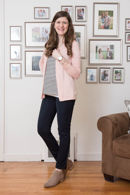 Lauderdale Knit Cardigan from Market & Spruce and Karene Perforated Bootie from DV8 | Stitch Fix Review - April 2017 | Stitch Fix Maternity | Stitch Fix style | Stitch Fix clothes | Crazy Together blog