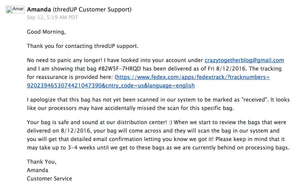 customer service email from ThredUP