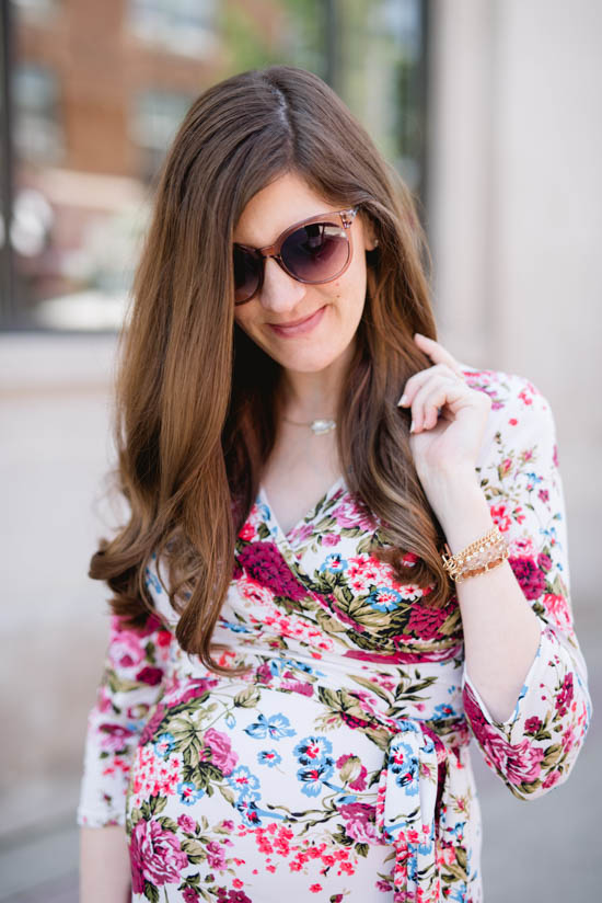 The perfect floral maternity maxi dress from Pink Blush Maternity | maternity style, maternity fashion | Crazy Together blog