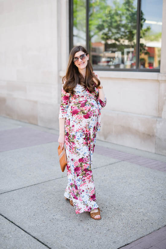 floral maternity maxi dress from Pink Blush | maternity style, pregnancy, maternity fashion, dress the bump | Crazy Together blog