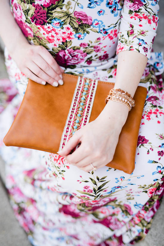 embroidered brown leather clutch | Crazy Together blog