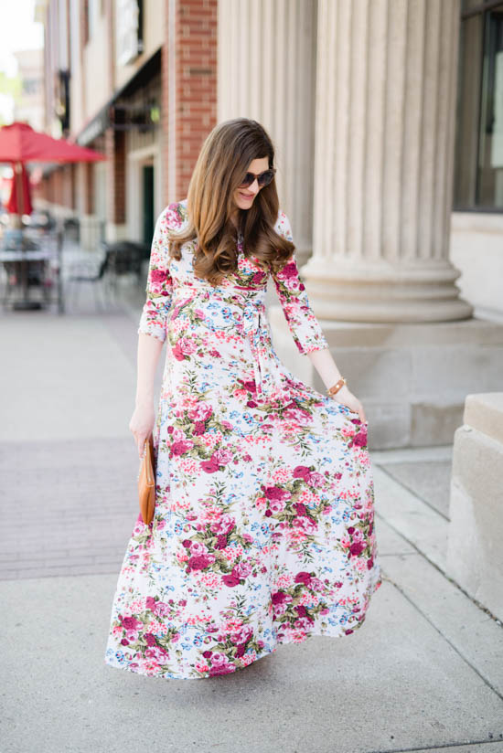 The perfect floral maternity maxi dress | Pink Blush Maternity | Crazy Together blog
