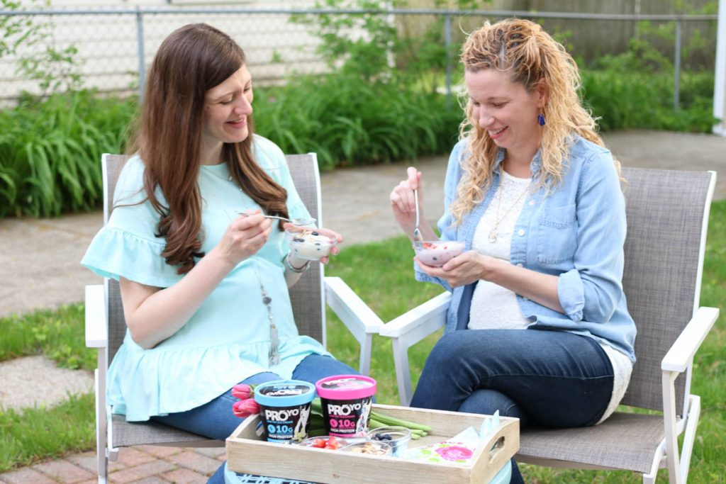 Enjoying ProYo High Protein Low Fat Ice Cream with a pregnant friend | Crazy Together blog