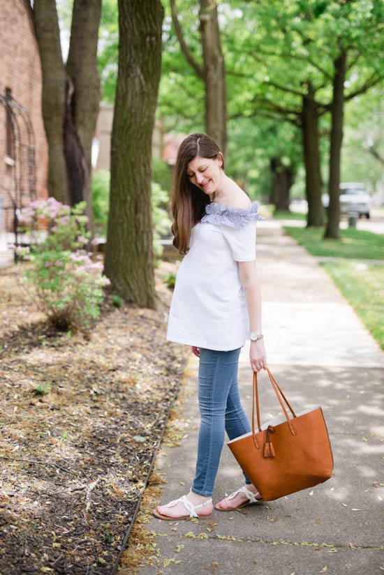white off the shoulder maternity top with skinny jeans  and a brown leather tote- perfect summer style | Crazy Together blog