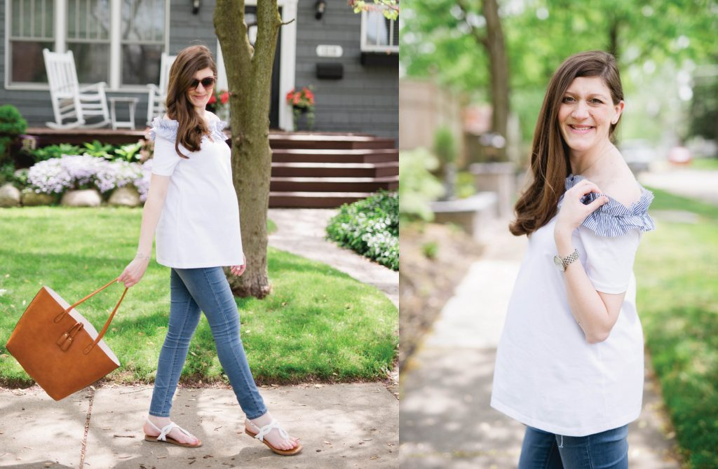 white off the shoulder maternity top | maternity style | summer maternity clothes | pregnancy fashion | Crazy Together blog