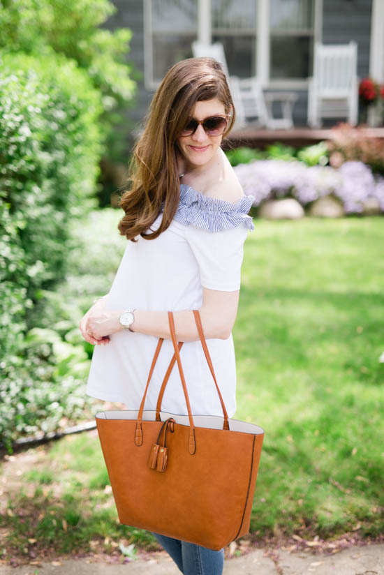 white off the shoulder maternity top with brown leather tote | Crazy Together blog