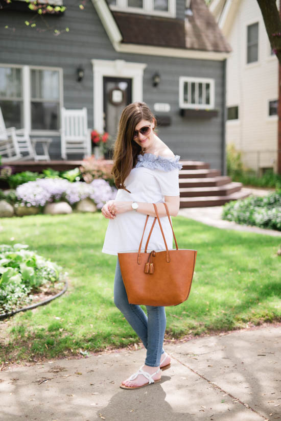 white off the shoulder maternity top and a brown leather tote | pregnancy fashion | maternity fashion | summer maternity clothes | Crazy Together blog