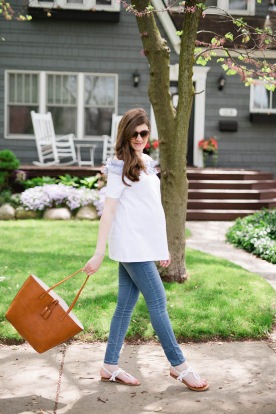 white off the shoulder maternity top with skinny jeans - perfect summer style | Crazy Together blog