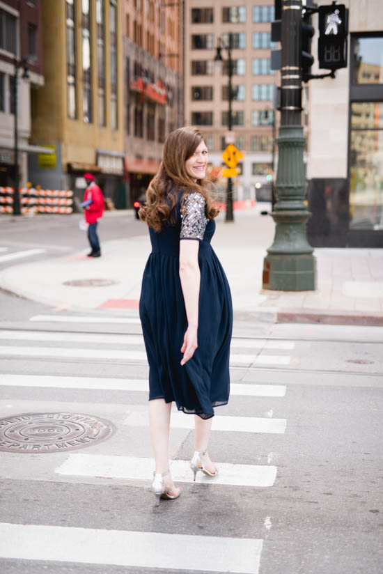 chic maternity photos | navy sequin maternity dress | ASOS maternity dress | maternity fashion blogger | crazy together blog