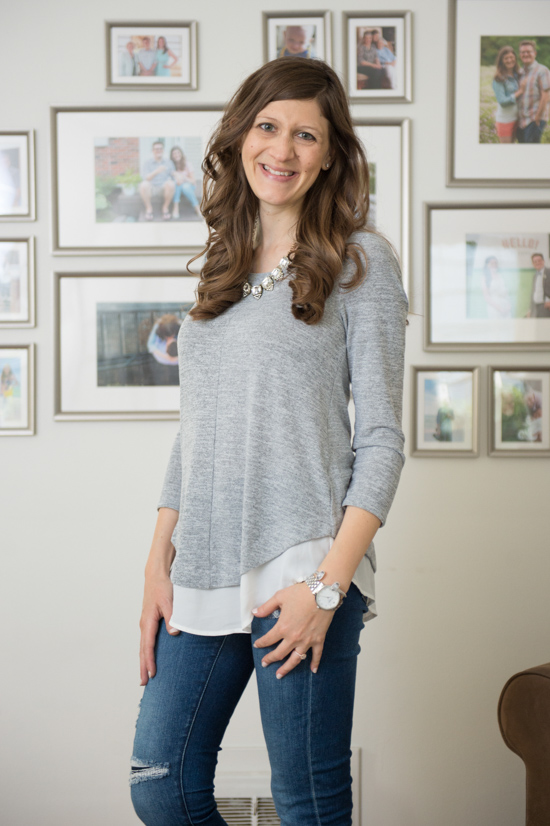 Hillsboro Mixed Material Hem Knit Top with Button Back | Stitch Fix Capsule Wardrobe | Stitch Fix | Stitch Fix Clothes | Crazy Together Blog