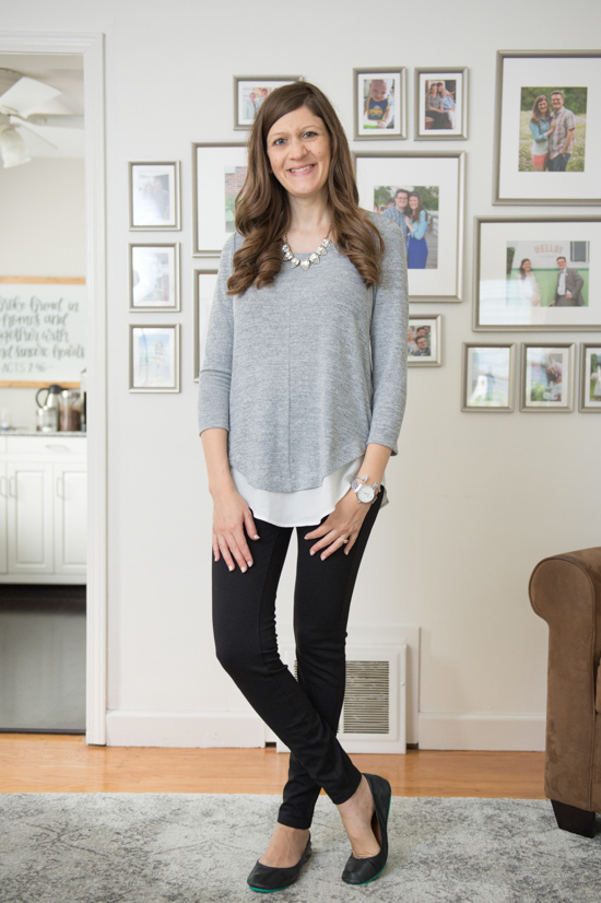 Hillsboro Mixed Material Hem Knit Top | Stitch Fix Capsule Wardrobe | Stitch Fix | Stitch Fix Clothes | Crazy Together Blog
