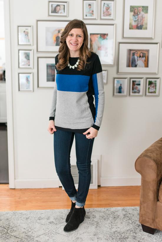 Nastiah Color Block Pullover | Stitch Fix Clothes | January fix | Crazy Together blog