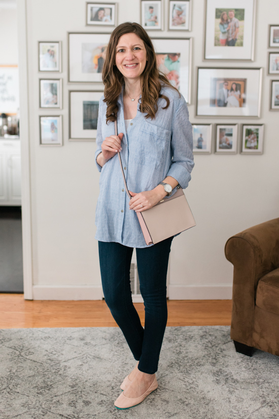 Try Stitch Fix Luxe and get luxury DESIGNER brands hand-picked by your personal stylist! | Clarise Saffiano Leather Crossbody from Kate Spade | No Limits Button Down Top by Free People and Moscow Skinny Jean from DL1961 | Stitch Fix clothes | Crazy Together blog