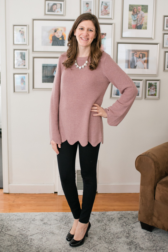 Try Stitch Fix Luxe and get luxury DESIGNER brands hand-picked by your personal stylist! | Jessica Scallop Detail Wool Sweater from Michael Stars | Stitch Fix clothes | Crazy Together blog