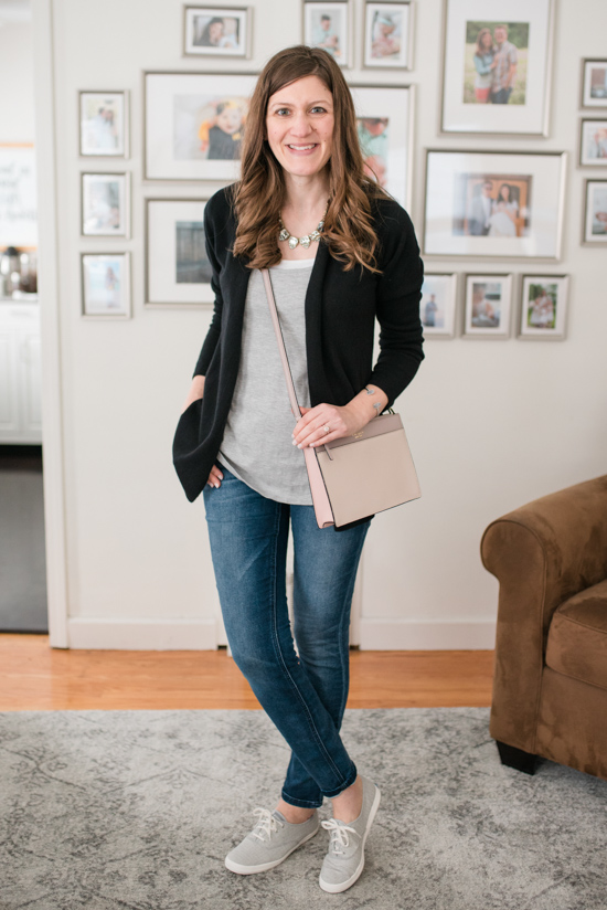 Try Stitch Fix Luxe and get luxury DESIGNER brands hand-picked by your personal stylist! | Gertrude Open Cashmere Cardigan from Lusso Cashmere + Clarise Saffiano Leather Crossbody from Kate Spade | Stitch Fix clothes | Crazy Together blog