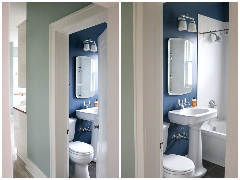 1925 home tour | navy blue and crisp white bathroom | Crazy Together blog