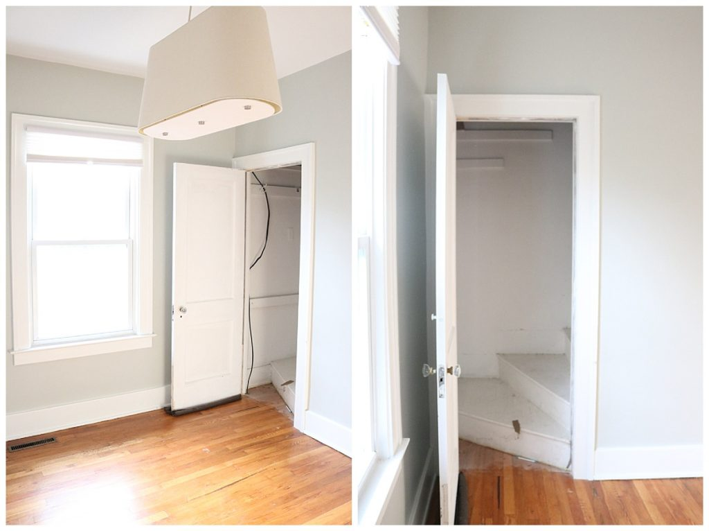 1925 home tour   bedroom with original wood floors and hidden staircase   Crazy Together blog