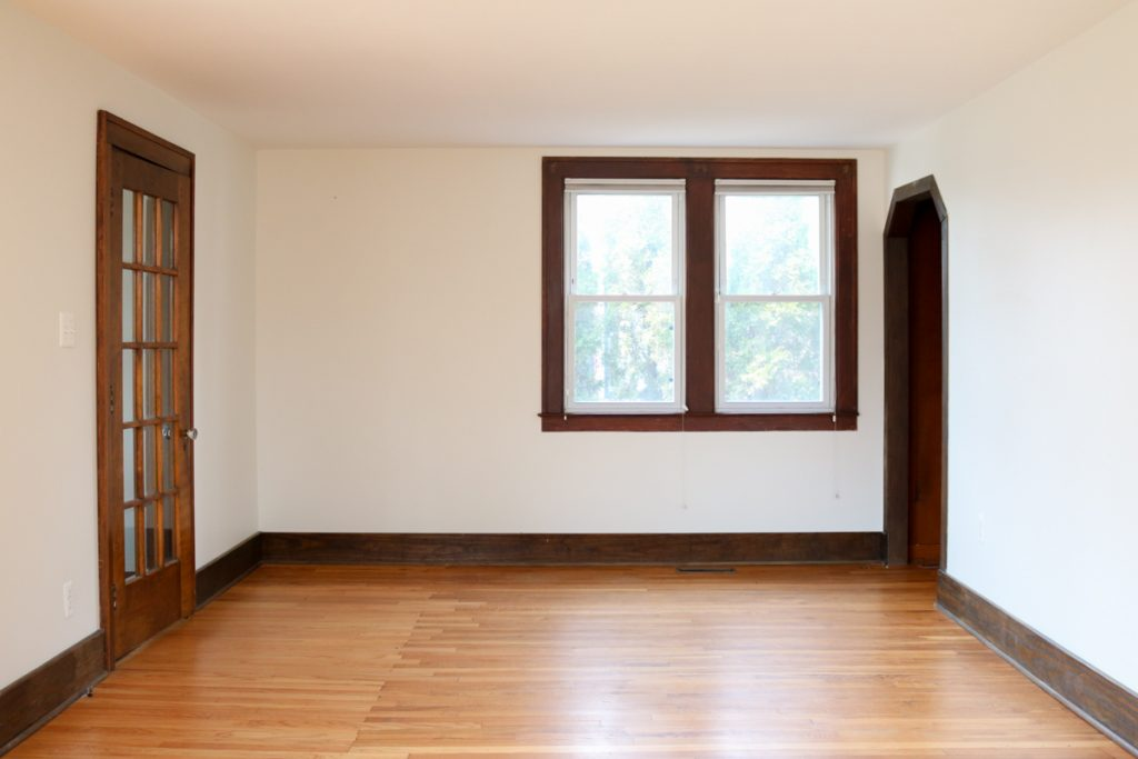1925 home tour   living room with original wood floors   Crazy Together blog