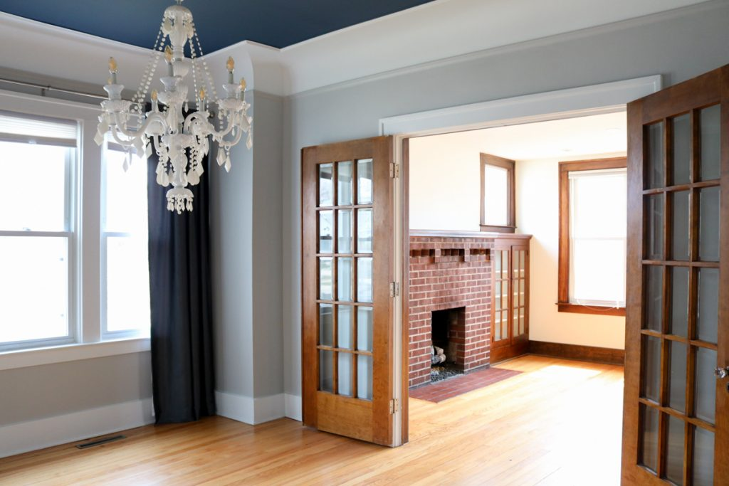 1925 home tour   living and dining room with original wood floors   Crazy Together blog