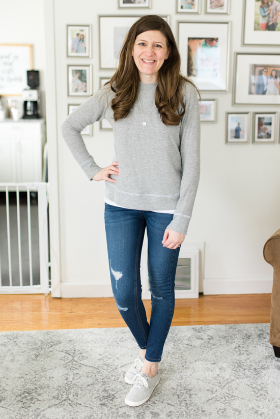 Jillyan Raglan Sweatshirt with Avalie Distressed Skinny Jean | Spring Stitch Fix Review | May 2018 Stitch Fix Review | Stitch Fix clothes | Stitch Fix blogger | Crazy Together blog