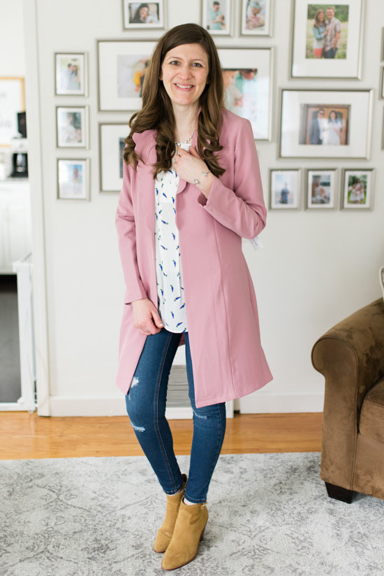 Marissa Scallop Trench Jacket from Honey Punch with Estefany Lace Detail Split Neck Blouse and Avalie Distressed Skinny Jean from Prosperity | Spring Stitch Fix Review | May 2018 Stitch Fix Review | Stitch Fix clothes | Stitch Fix blogger | Crazy Together blog