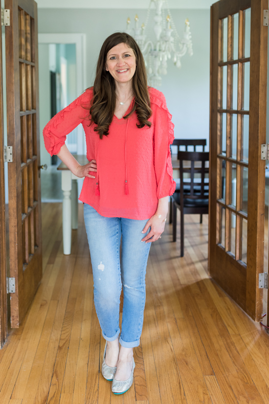 Red, White and Blue Summer Stitch Fix Review - Valya Ruffle Trim Blouse from Daniel Rainn | 4th of July Stitch Fix | patriotic Stitch Fix | Stitch Fix clothes | Crazy Together blog